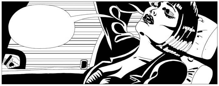 Viñeta de cómic en blanco y negro
