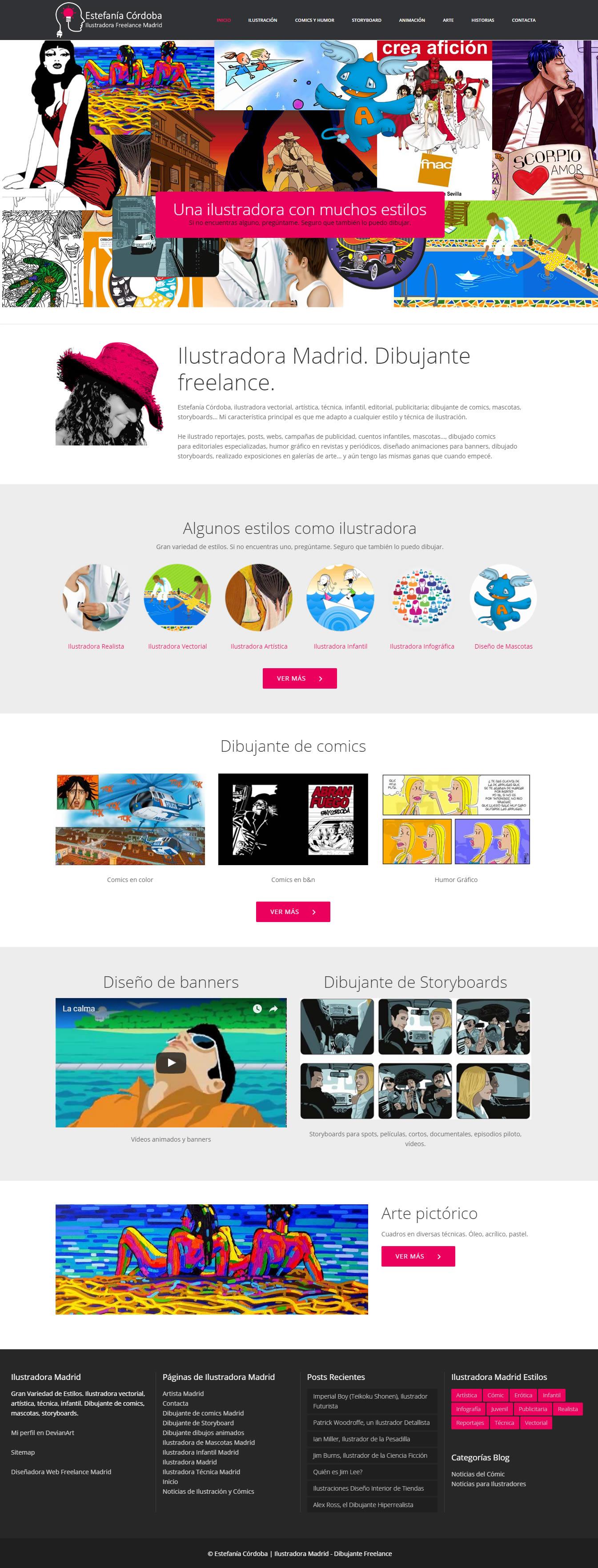 Diseño web original con muchos dibujos y animaciones