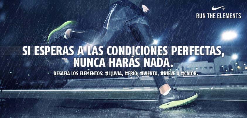 Landing page de Nike con un deportista corriendo bajo la lluvia